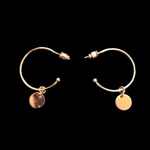 Gold hoop with charm earrings